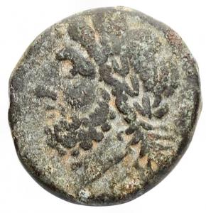 obverse: Mondo Greco - Apulia Arpi(Circa 325-250 a.C.)AE 19,9 x 20,6 mm.D/ testa di Zeus a sinistra. R/ Cinghiale a destra, sopra lancia. g 7,65.HN Italy 642.Bel BB+. Bella patina