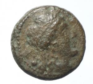obverse: Mondo Greco. Apulia. Luceria. 211-200 a.C. Oncia. D/ Testa di Apollo verso destra. R/ LOVCERI Rana. SNG ANS 709. Peso 3,55 gr. Diametro 14,44 mm. BB\BB+.§