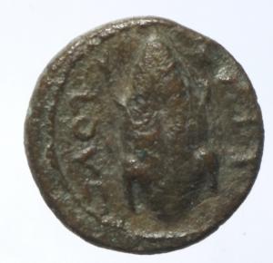 reverse: Mondo Greco. Apulia. Luceria. 211-200 a.C. Oncia. D/ Testa di Apollo verso destra. R/ LOVCERI Rana. SNG ANS 709. Peso 3,55 gr. Diametro 14,44 mm. BB\BB+.§