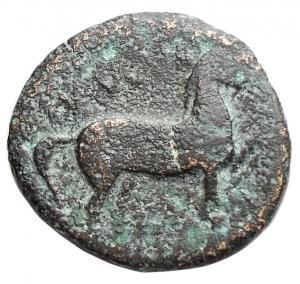 obverse: Mondo Greco - Apulia Salapia. 275-250 a.C.Ae 16,8 x 17,9 mm. D/ Cavallo andante verso destra, etnico. R/ Delfino verso sinistra, sopra tridente. SNG ANS 733. Peso 5,47. qBB-BB.RR.