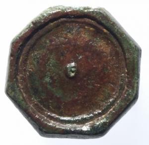 obverse: Bizantini. Peso in Ae ottagonale. Peso 12,00 gr. Diametro 2,70 cm. Ottima Conservazione