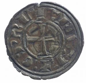 reverse: Oriente Latino. Chiarenza. Guglielmo di Villemardouin. 1245-1278. Denaro tornese. MI. MB/BB.^^