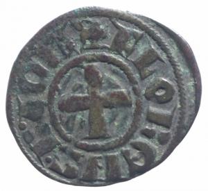 obverse: Oriente Latino. Chiarenza. Florent de Hainaut (1289-1297). Denaro tornese. D/ Castello. R/ Croce. Peso 0,85 gr.Malloy 13a var. MI. BB+.^^