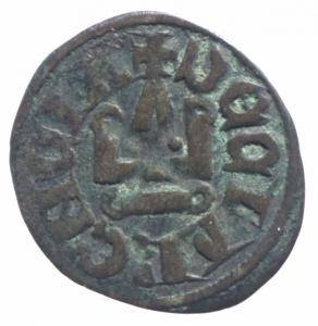 reverse: Oriente Latino. Chiarenza. Florent de Hainaut (1289-1297). Denaro tornese. D/ Castello. R/ Croce. Peso 0,85 gr.Malloy 13a var. MI. BB+.^^