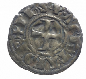 reverse: Oriente Latino. Chiarenza. Florent de Hainaut (1289-1297). Denaro tornese. D/ Castello. R/ Croce. Malloy 13a var. MI. BB.^^