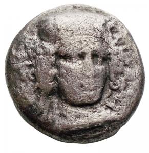 obverse: Mondo Greco -Campania, Hyria.Didracma, ca. 405-385 a.C.D/ Testa di Hera Lakinia di fronte, con il volto tre quarti a destra.R/ Toro androcefalo a destra.HN (Italy) 540.AG.g 5,85. mm19,3 x 19,7. MB-qBB. Rara