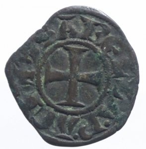 reverse: Oriente Latino. Chiarenza. Isabella di Villearduin (1297-1301). Denaro tornese. R. MI. MB/BB.^^