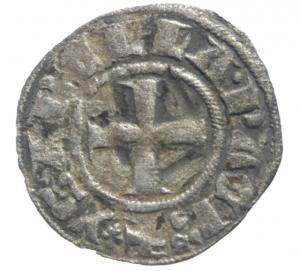 obverse: Oriente Latino. Chiarenza. Isabella di Villearduin (1297-1301). Denaro tornese.Peso 0,60 gr. R. MI. BB.^^