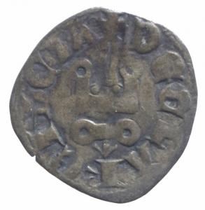 obverse: Oriente Latino. Chiarenza. Maria di Hainaut (1316-17). Denaro tornese. Gamb.211. MI. BB.R.^^