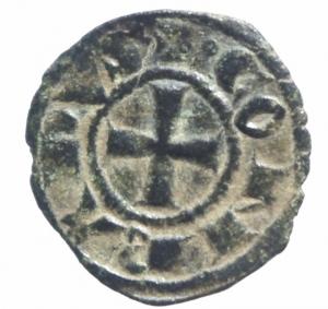obverse: Zecche Italiane. Brindisi. Corrado I. 1250-1254. Denaro. Mi. D/ Croce patente + CONRADVS. R/ Nel campo Rx in legenda +IERL ET....SP153.Peso 0,70 gr.BB+.^^