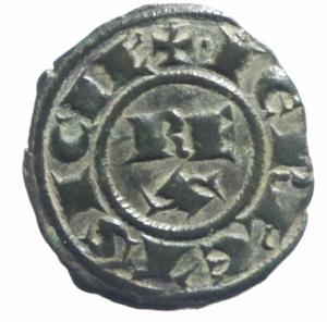 reverse: Zecche Italiane.Brindisi. Corrado I. 1250-1254. Denaro .D\ Croce R/ REX su due righe.Sp.156. Peso gr. 0,85.SPL. R.^^
