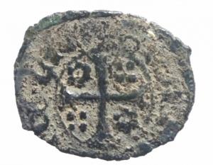 reverse: Zecche Italiane .Catania. Federico IV d'Aragona (1355-1377). Denaro con stemma e aquila .Sp.237 MIR 1. MI. R. BB.^^