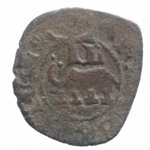 reverse: Zecche Italiane.Catania. Federico IV d'Aragona (1355-1377). Denaro con stemma e elefante.Sp.269 MIR 1. MI. R. BB.^^