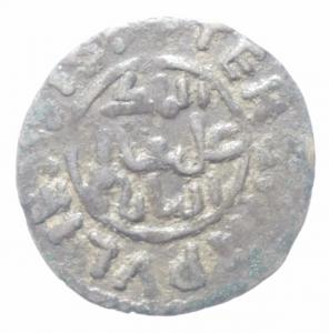 obverse: Zecche Italiane. Messina o Palermo. Guglielmo II (1166-1189). Terzo di apuliense. Sp. 112. AG.Peso 0,85 gr. R. BB+.