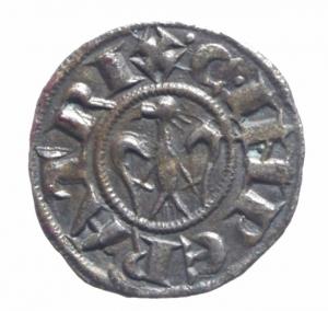 obverse: Zecche Italiane. Messina o Brindisi. Enrico VI di Svevia e Costanza d  Altavilla (1194-1197). Denaro .D\ Aquila ad ali aperte che guarda a sinistra R\ Croce patente. Sp. 28. MI.SPL.^^
