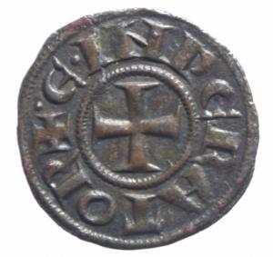 reverse: Zecche Italiane. Messina o Brindisi. Enrico VI di Svevia e Costanza d  Altavilla (1194-1197). Denaro .D\ Aquila ad ali aperte che guarda a sinistra R\ Croce patente. Sp. 28. MI.SPL.^^