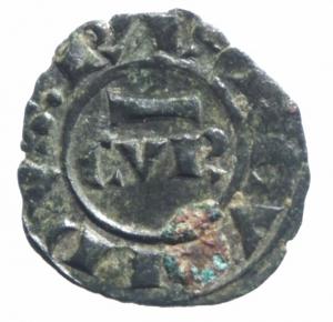 obverse: Zecche Italiane.Messina .Corrado II (1254-1258) Denaro. D/ CVR. R/ Croce. Sp.173. MI, 0.70 gr. BB+.^^