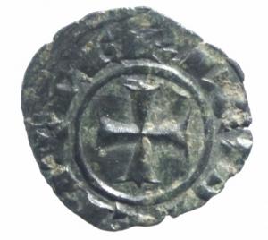 reverse: Zecche Italiane.Messina .Corrado II (1254-1258) Denaro. D/ CVR. R/ Croce. Sp.173. MI, 0.70 gr. BB+.^^