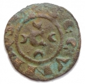 obverse: Zecche Italiane - Messina.Corrado II (1254-1258).Mezzo denaro ?? C tra crescenti.Sp.- (dopo il 179).MI.g. 0.27. BB/BB+.RR.