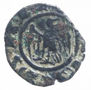 obverse: Zecche Italiane. Messina. Corrado II (1254-1258). Mezzo denaro. D/ Aquila stante. R/ Croce su altra croce che interseca la legenda. Sp.170. MI. gr. 0.44 RR. qSPL.RRR.^^ ex Varesi 60 lotto 1435
