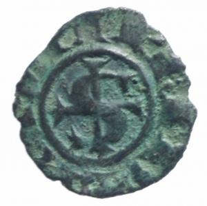 obverse: Zecche Italiane.Messina. Manfredi (1258-1266) Denaro. D/ S e croce intersecati . R/ R e Omega e 2 puntini. MI, 0.75gr. Sp.199. R. BB+.^^