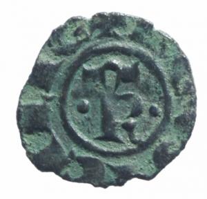 reverse: Zecche Italiane.Messina. Manfredi (1258-1266) Denaro. D/ S e croce intersecati . R/ R e Omega e 2 puntini. MI, 0.75gr. Sp.199. R. BB+.^^