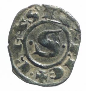 obverse: Zecche Italiane.Messina. Manfredi (1258-1266) Denaro. D/ Stra due puntini R/ Croce. MI, 0.75 gr. Sp.198. R. BB+.^^