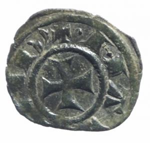 reverse: Zecche Italiane.Messina. Manfredi (1258-1266) Denaro. D/ Stra due puntini R/ Croce. MI, 0.75 gr. Sp.198. R. BB+.^^
