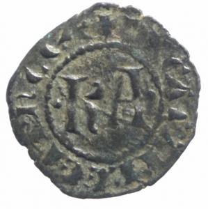 obverse: Messina Carlo I d  Angiò (1266-1285) Denaro. D/ KA. R/ Croce. cfr. Sp.37. MI, 0.85 gr. BB+.^^