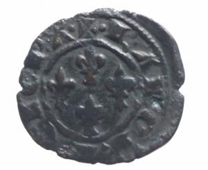 obverse: Messina Carlo I d  Angiò (1266-1285) Denaro. D/ Quattro fiordalisi. R/ Croce. Sp.41. MI, 0.70 gr. BB+-^^