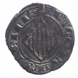 obverse: Zecche Italiane. Messina. Pietro e Costanza (1282-1285). Doppio denaro. Sp. 27/28. R. MI.BB.^^