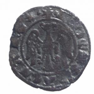 reverse: Zecche Italiane. Messina. Pietro e Costanza (1282-1285). Doppio denaro. Sp. 27/28. R. MI.BB.^^