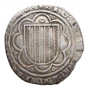 obverse: Zecche Italiane -Messina.Giacomo d Aragona (1285-1327).Pierreale.AG.gr. 1,54.MB+.