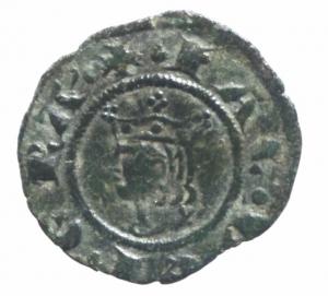 obverse: Zecche Italiane. Messina. Giacomo d Aragona (1285-1296). Denaro. D\ Ritratto coronato a sinistraR\ Croce patente.Sp. 18/21. MI.BB+.^^