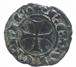 reverse: Zecche Italiane. Messina. Giacomo d Aragona (1285-1296). Denaro. D\ Ritratto coronato a sinistraR\ Croce patente.Sp. 18/21. MI.BB+.^^
