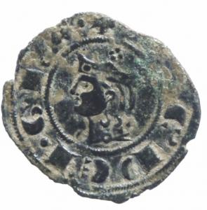 obverse: Zecche Italiane. Messina. Giacomo d Aragona (1285-1296). Denaro.D\ testa coronata a sinistra R\Croce con quattro globetti. SP. 18. MI. SPL.^^