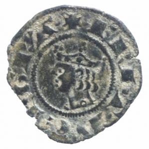 obverse: Zecche Italiane.Messina. Federico III (1296-1337) Denaro. D/ Testa coronata a sinistra. R/ Croce. MI. Biaggi 1312. BB.^^