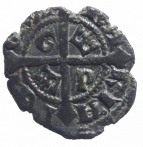 obverse: Zecche Italiane.Messina. Maria e Martino (1396-1402) Denaro. D/ Stemma. R/ Croce, G-P. MI, 0.58gr. MIR 219. BB+.^^