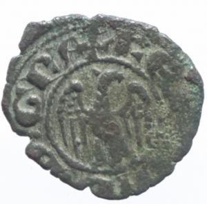 obverse: Zecche Italiane. Messina. Ferdinando I d Aragona. 1412-1416. Denaro. stemma aragonese sormontato da croce. MIR.224. Peso 0,65 gr. Diametro 15,61 mm. BB+. NC.^^