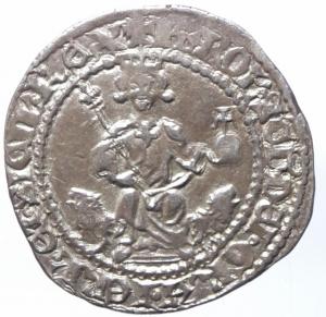 obverse: Zecche Italiane. Napoli. Carlo II d Angiò. 1285-1309. Gigliato. Ag. MIR 24. P.R. 3. Peso gr. 3.95. Bel BB+. NC.