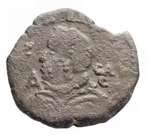 obverse: Zecche Italiane - Napoli. Filippo IIII. 1621-1655.Tornese con il tosone.Lettera A . Sigla GAC. Peso 4,95 gr. Diametro 21,9 mm. BB
