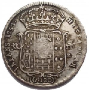 reverse: Zecche Italiane - Napoli.Carlo di Borbone (1734-1759).120 grana o piastra 1753.MIR 337/3. MB-BB