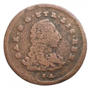 obverse:  Zecche Italiane - Napoli. Carlo III 1734-1759. 4 Cavalli 1756 Cu. d/ Busto del Sovrano a dx. sotto I-A r/ Valore entro cornice Barocca, ai lati M - M. gr 1,55. mm 18,8. Migliore di MB