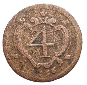 reverse:  Zecche Italiane - Napoli. Carlo III 1734-1759. 4 Cavalli 1756 Cu. d/ Busto del Sovrano a dx. sotto I-A r/ Valore entro cornice Barocca, ai lati M - M. gr 1,55. mm 18,8. Migliore di MB