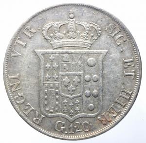reverse: Zecche Italiane. Napoli. Ferdinando II di Borbone. 1830-1859. Piastra 120 Grana 1834. AR. P/R 58. MIR 499/4. BB.