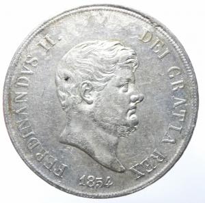 obverse: Zecche Italiane. Napoli. Ferdinando II di Borbone. 1830-1859. 120 grana o piastra 1854. AG. MIR 503/3 P.R. 83. Gig. 85. BB+.