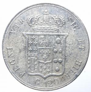 reverse: Zecche Italiane. Napoli. Ferdinando II di Borbone. 1830-1859. 120 grana o piastra 1854. AG. MIR 503/3 P.R. 83. Gig. 85. BB+.