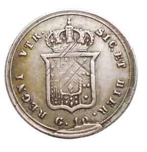 reverse: Zecche Italiane - Napoli. Ferdinando II. 1830-1859.10 grana 1855. P.R. 168. Peso 2,28 gr. Diametro 18,66 mm.qBB