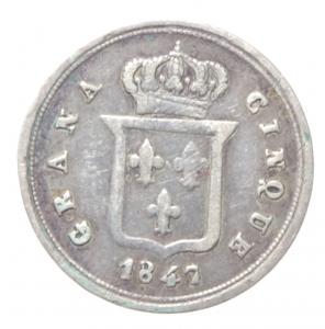 reverse: Zecche italiane. Napoli. Ferdinando II. 1830-1859. 5 Grana 1847. AG. MIR 516/5. Peso gr. 1,12. BB. RR.