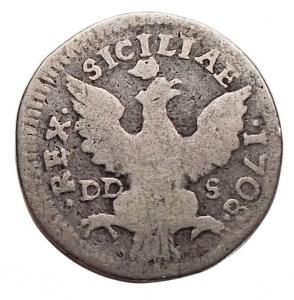 reverse: Zecche Italiane - Palermo. Filippo V (1701-1713). Mezzo tarì 1708. Sp. 19. MIR 505/3. AG. MB.